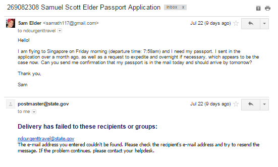 Passport urgent e-mail