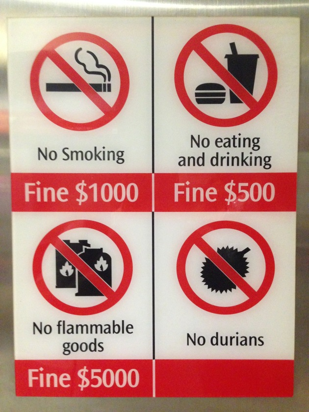Why is the fine not listed for bringing durians on board? Does it depend on how bad-smelling they are? Or do they just take the durians away?