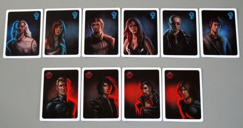 The role cards in resistance: blue is the resistance; red are spies. Role cards can help to hammer in the play-acting component of social deduction games.